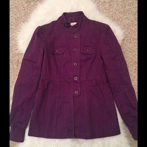 Tulle Button Down Jacket Purple
